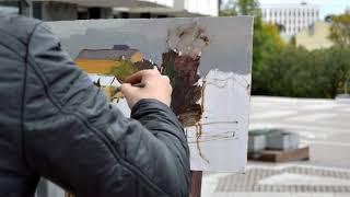 Видео урок, этюд городского пейзажа