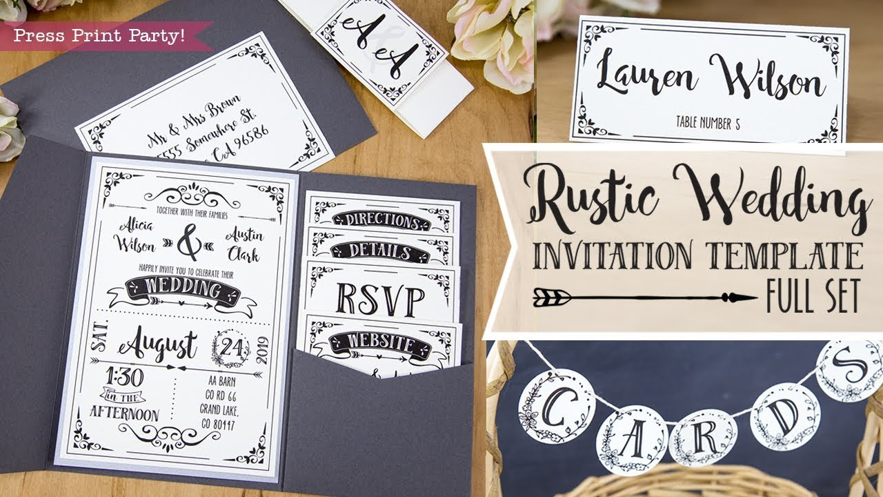 Diy Rustic Wedding Invitation Template Printable Details Menu Rsvp Cards Place Cardore