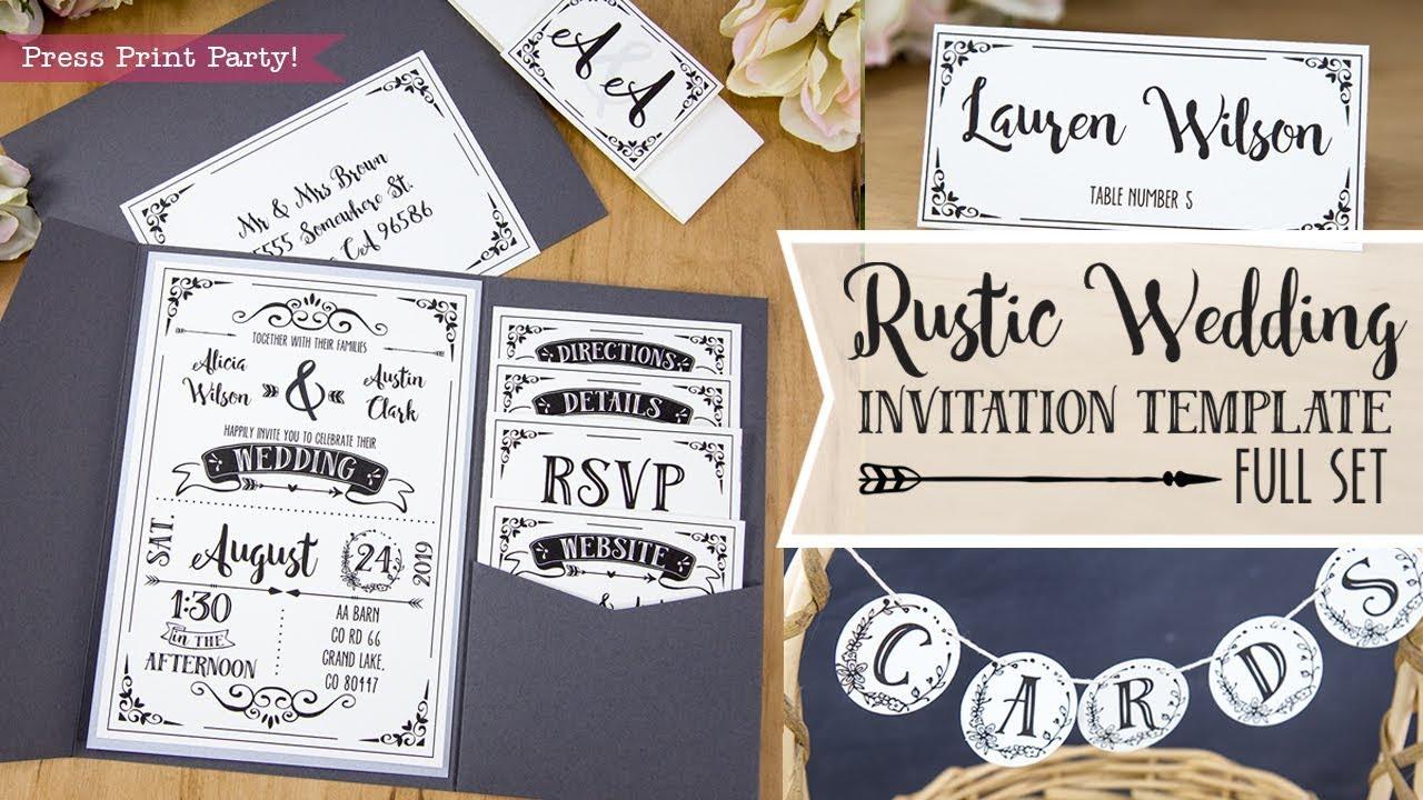Diy Rustic Wedding Invitation Template