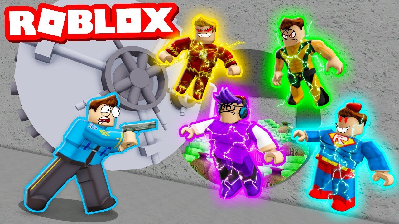 1 Cop Vs 4 Super Villains Roblox Mad City Roleplay Youtube