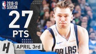 Luka Doncic Full Highlights Mavericks vs Timberwolves 2019.04.03 - 27 Points, 12 Reb, 6 Assists