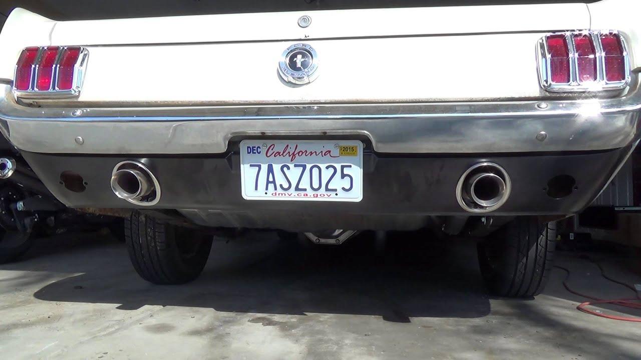 1965 Mustang 200 ci Dual Rear Exhaust - YouTube