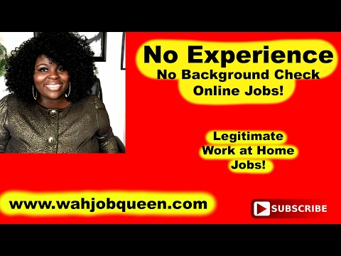 No Experience, No Background Check Legitimate Work at Home Online Jobs