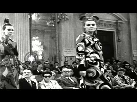 Models display the ready to wear garments,sun goggles,coats and hats during a fas...HD Stock Footage