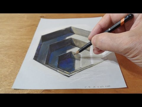Drawing 3D Hexagonal Hole - Trick Art Illusion on Paper