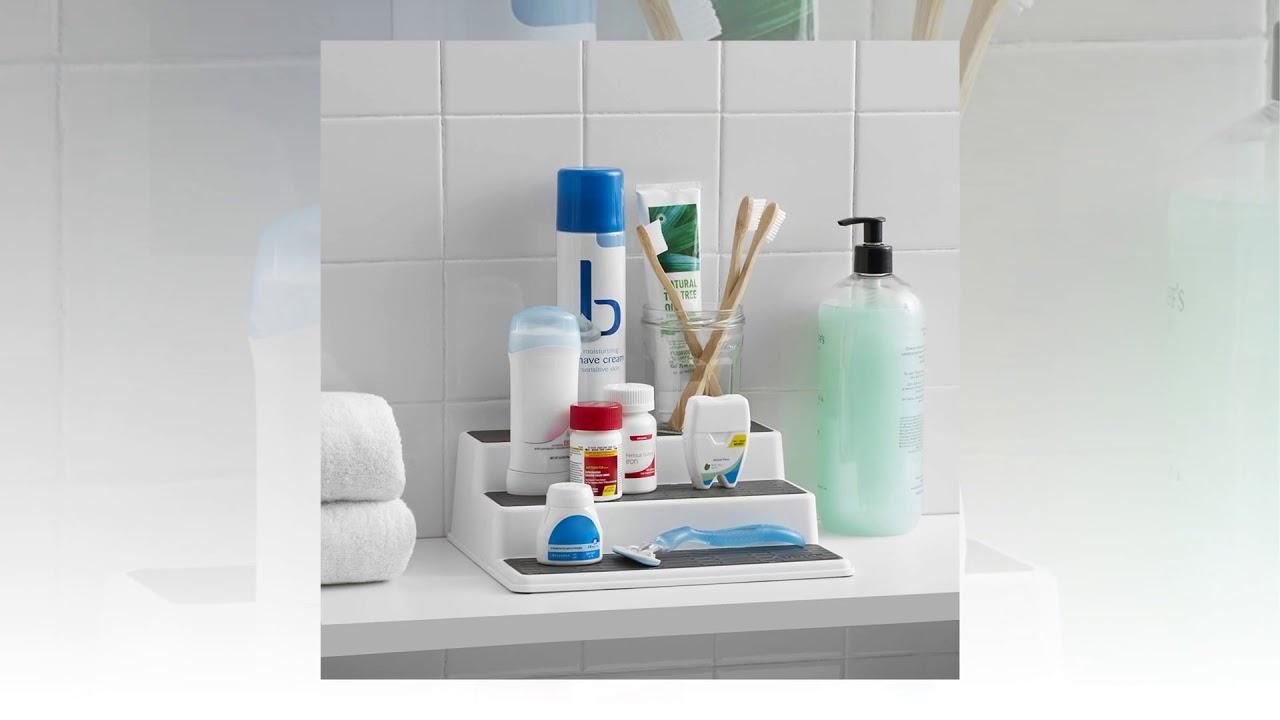 White//Gray Copco 2555-0188 Non-Skid 3-Tier Spice Pantry Kitchen Cabinet Organizer 15-Inch