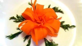 4 LIFE HACKS HOW TO MAKE CARROT FLOWER - CARROT ROSE & VEGETABLE CARVING GARNISH DESIGN CARROT