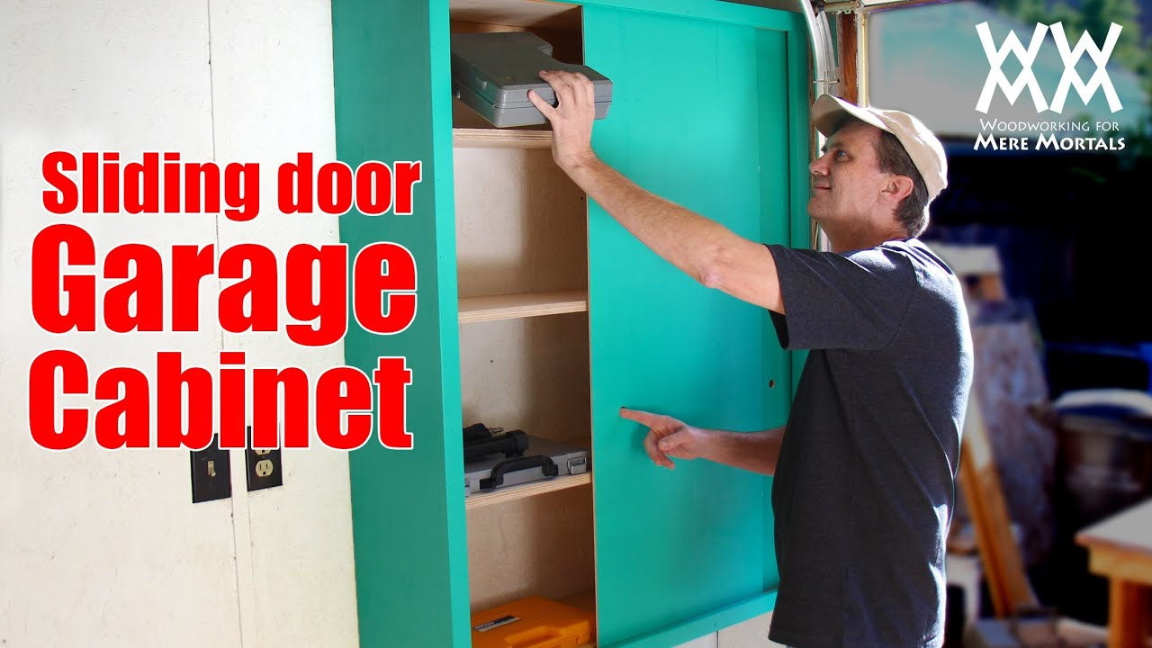 Storage Cabinet Sliding Doors Sliding Door Garage Storage Cabinet Easy Woodworking Project To