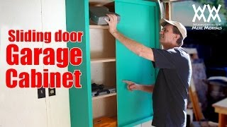 Sliding-door Garage Storage Cabinet. Easy Woodworking Project To Organize Your Shop.