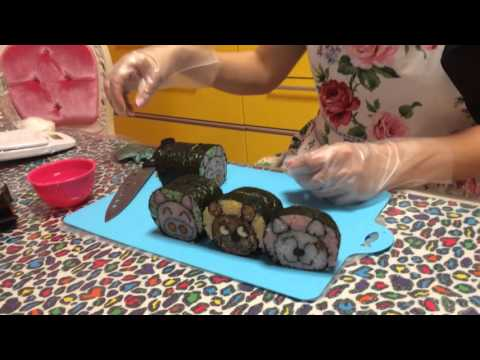 1本の巻き寿司から4種類の可愛い動物が飛び出す♪ロール巻子の飾り巻き寿司