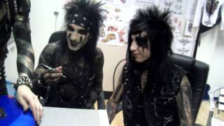 Black Veil Brides reaction to us giving them skittles