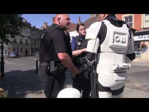 Flint instructing Glastonbury police on the use of Star Wars Blaster Pistol