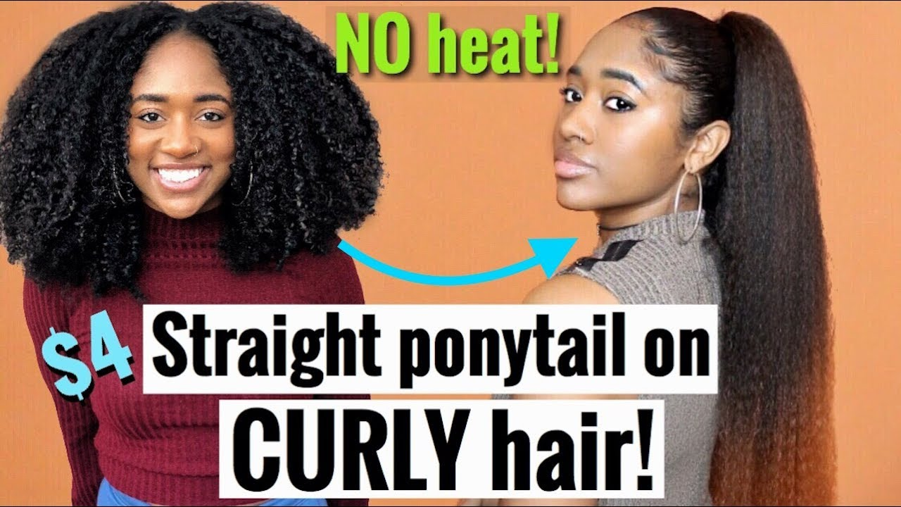 How To No Heat Easy Ombre Straight Ponytail On Black Curly Hair