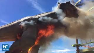 Life-size animatronic T-Rex bursts into flames at Colorado theme park