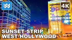 Walking tour of Sunset Strip in West Hollywood, California USA 🎧 【4K】