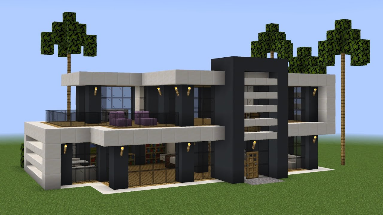 Minecraft - How to build a modern house 59