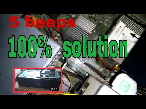 5 beeps on startup hp desktop step by step solution ( with red light) in  Hindi