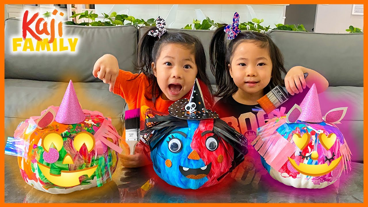 DIY Painting Halloween Pumpkins with Emma and Kate!!!