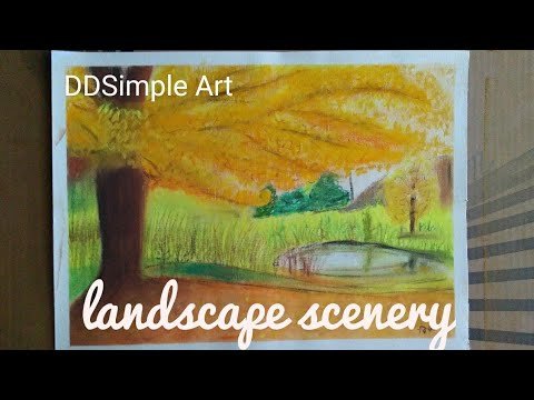 Landscape scenery soft paste painting|kids tutorial for landscape painting|painting-Dipti Dandgavhal