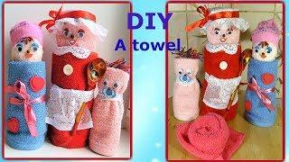 Подарок из полотенца на 8 марта. Куклы. Как свернуть полотенце в подарок