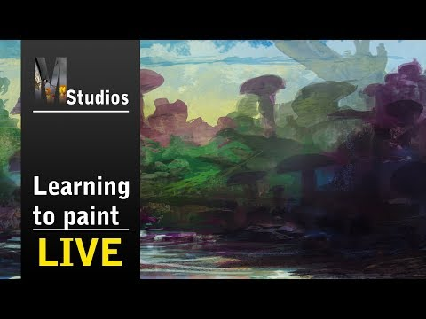 Learning How To Paint – Livestream – Finishing of a fantasy landscape painting