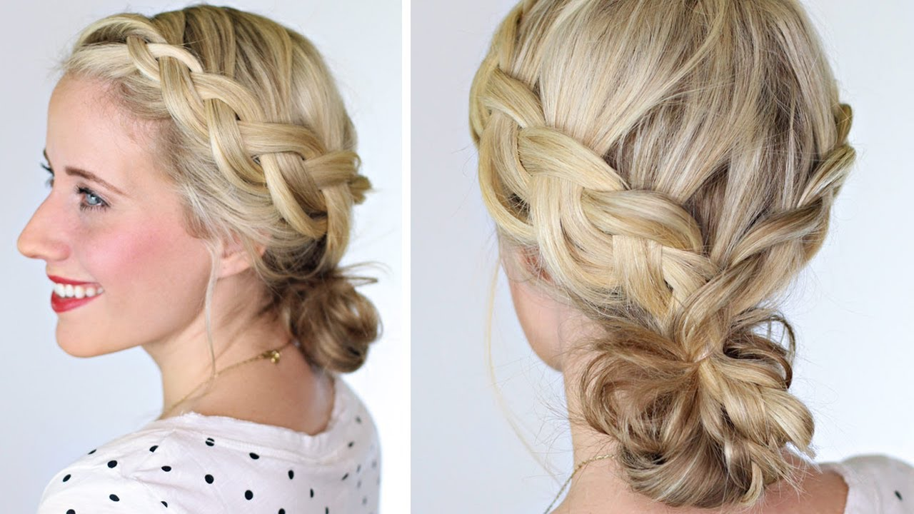 How To Braided Bun Lauren Conrad Hairstyle Youtube
