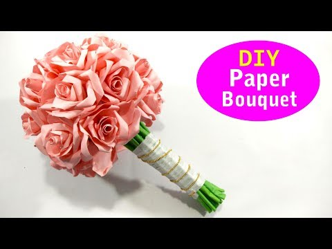 DIY Latest Design Paper Flower Bouquet - Wedding Bouquet - Paper Bridal Bouquet Ideas 2019