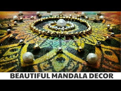 DIY MANDALA unique DECORATION idea - 2| Sponge ACRYLIC painting+ Pearls decor| HOME DECOR