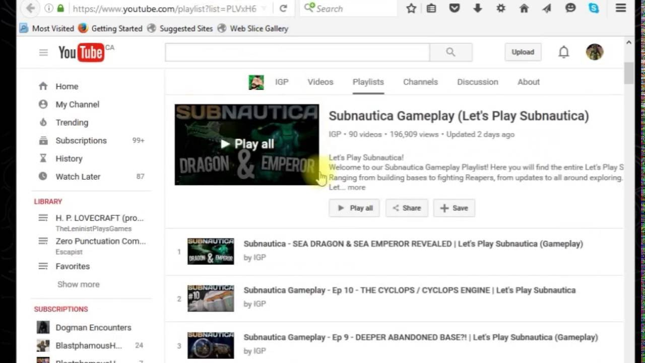 Help Wanted  Youtube not showing saved playlists
