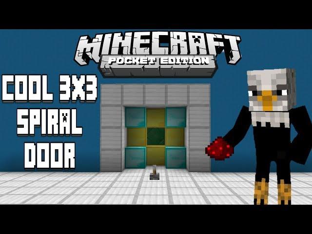 How To Make Cool 3x3 Spiral Door - Minecraft Pe - | Redstone Tutorial |