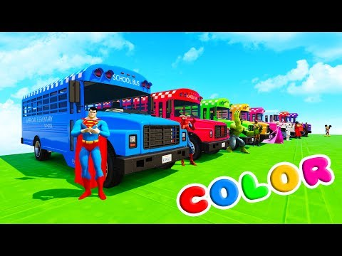 Thumbnail: LEARN COLORS SCHOOL BUS & BMX BIKES w/ Superheroes Fun Animation for Children