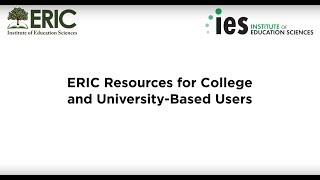 ERIC Resources for College and University-Based Users thumbnail