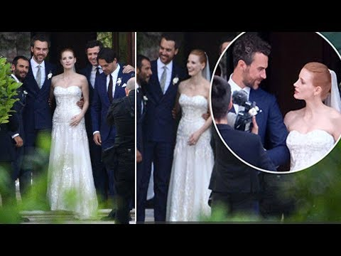 Jessica Chastain looks stunning in white bridal gown when she married Gian Luca Passi de Preposulo