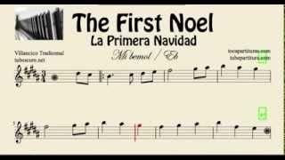 La Primera Navidad Partitura de Saxo Barítono y Trompa en Mi bemol The First Noel