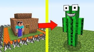 НУБ ПОСТРОИЛ ЗАЩИЩЕННЫЙ ДОМ В МАЙНКРАФТ  НУБИК ПРОТИВ КАКТУС МОНСТР И ТРОЛЛИНГ ЛОВУШКА Minecraft