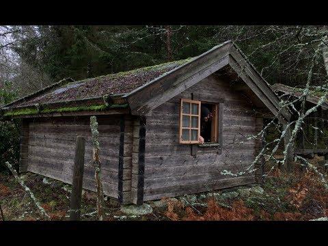 Off Grid Log Cabin Solo Winter Overnighter Camp - Snowstorm, Rain, Swedish Wilderness