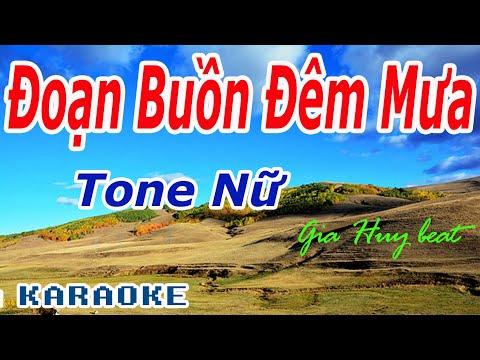 Karaoke - Đoạn Buồn Đêm Mưa - Tone Nữ - Nhạc Sống - gia huy beat