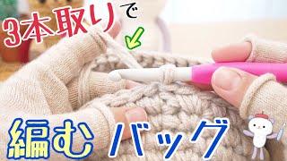 3本取りでバッグを編みます【DAISO人気毛糸】happyknittingmama/ハピママ