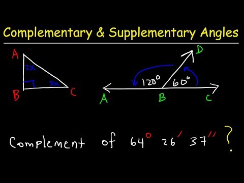 Complementary and Supplementary Angles, Basic Introduction, Geometry Word Problems
