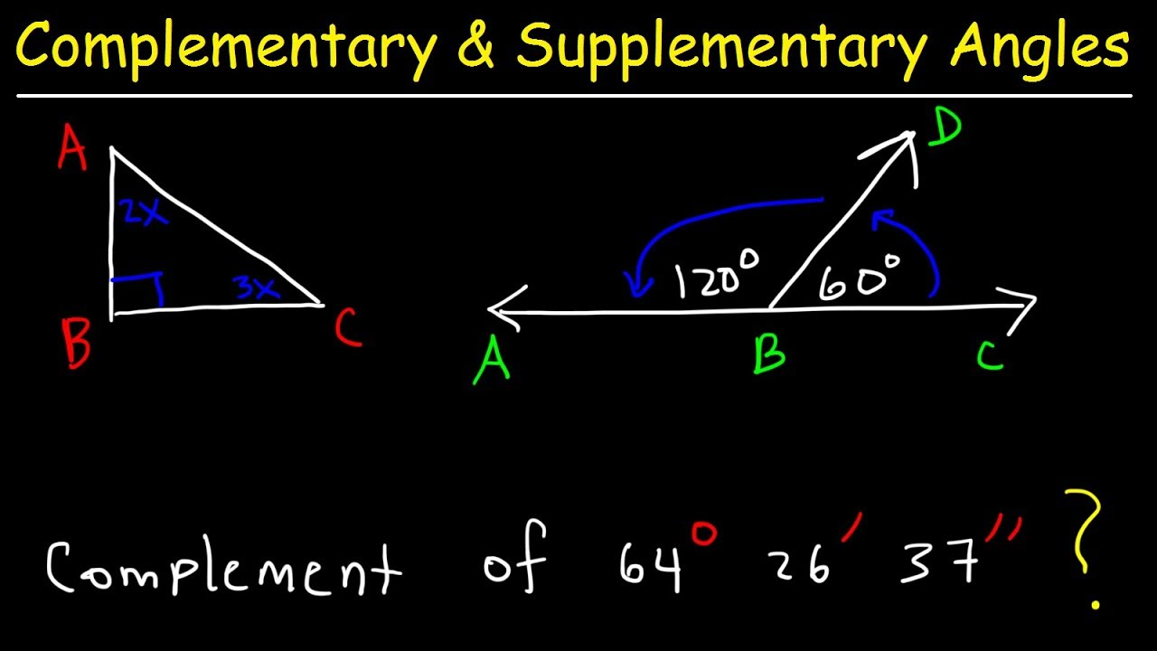 complementary and supplementary angles, basic introduction, geometry