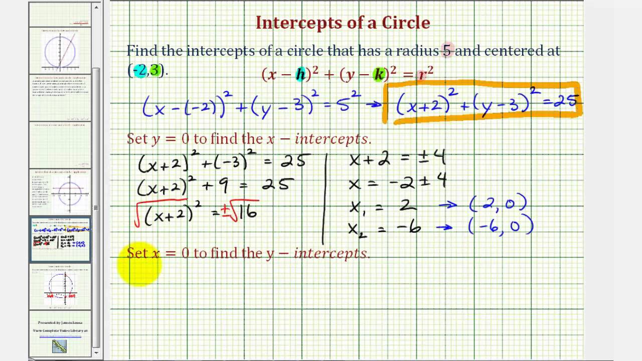 Ex: Find The Intercepts Of A Circle Not Centered At The Origin
