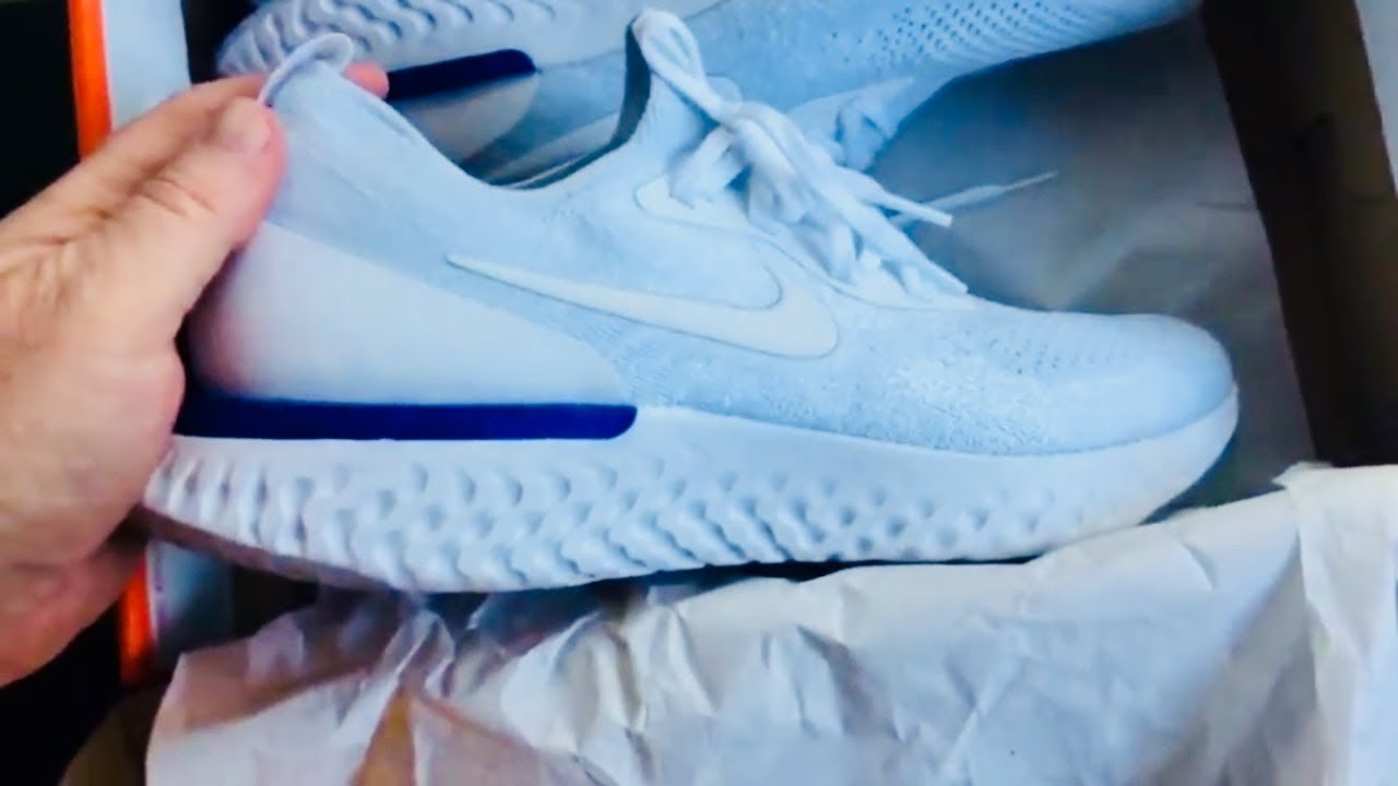 6451f704042a NIKE EPIC REACT FLYKNIT Men s White   Blue - YouTube