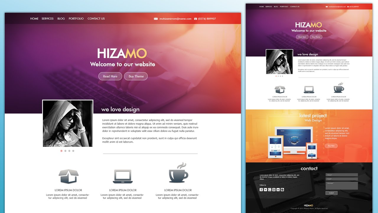 Zeer Design a Hizamo Portfolio Website In Photoshop - YouTube #NE74