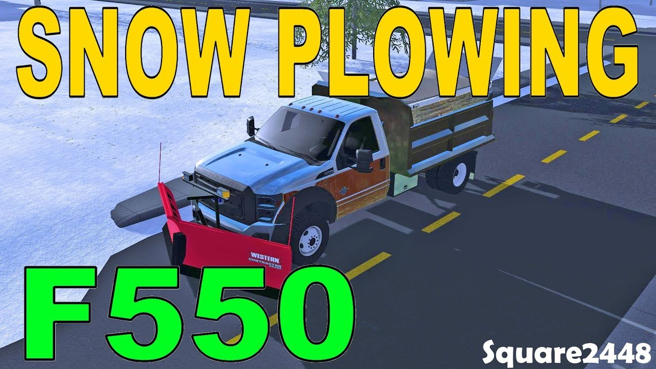 Farming Simulator 17 | Plowing Snow With 2011 Ford F550 Dump Truck | New Western V Plow - YouTube