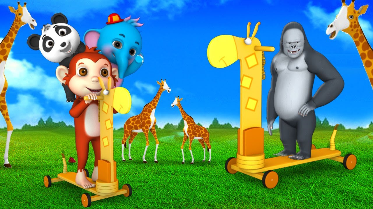 Monkey play with Wooden Giraffe Toy Bike Ride with Forest Animals | 3D Comedy Animal Jungle Videos