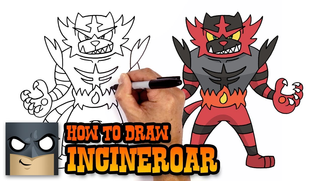 How To Draw Pokemon Incineroar Step By Step Youtube