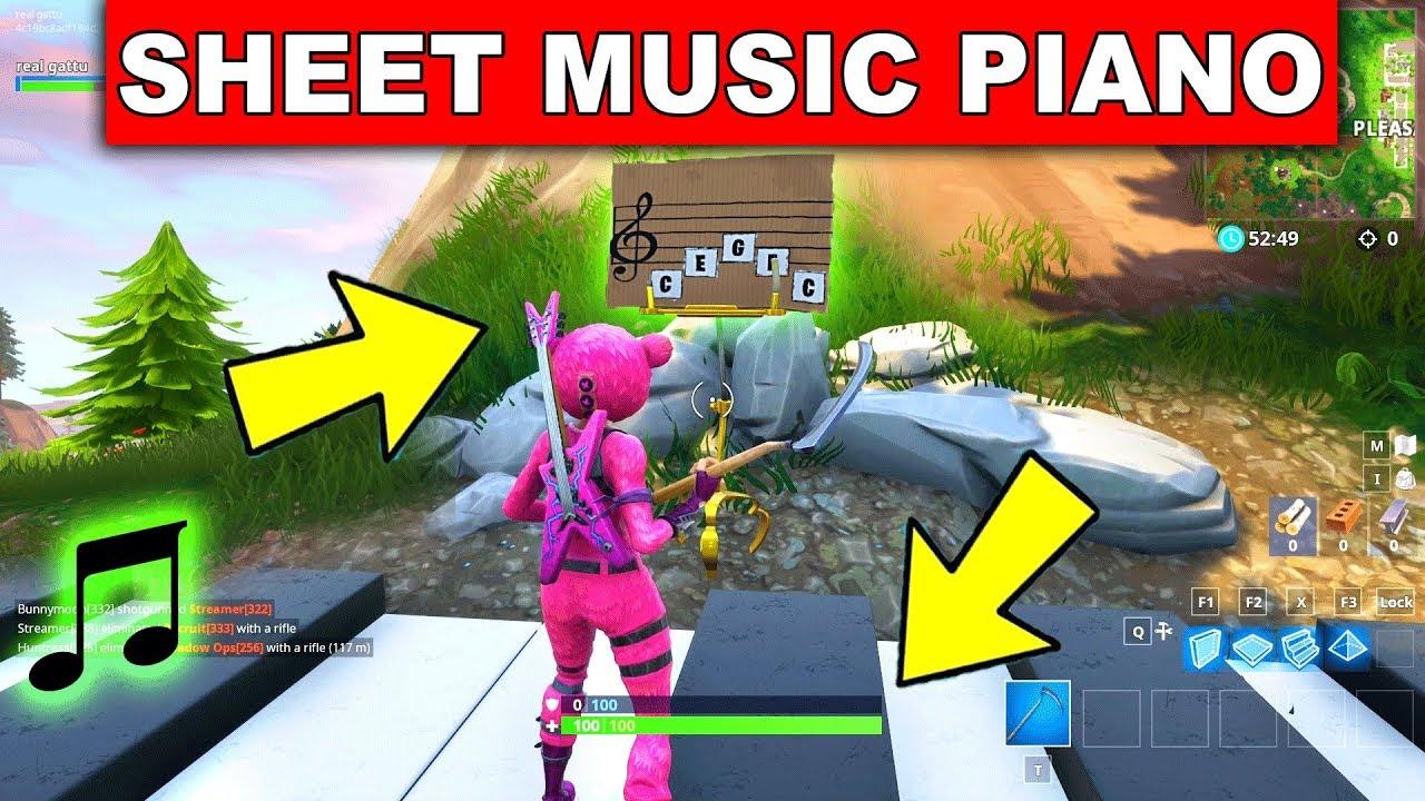 play the sheet music at the piano near pleasant park location week 6 challenge fortnite gattu - fortnite sheet music challenge