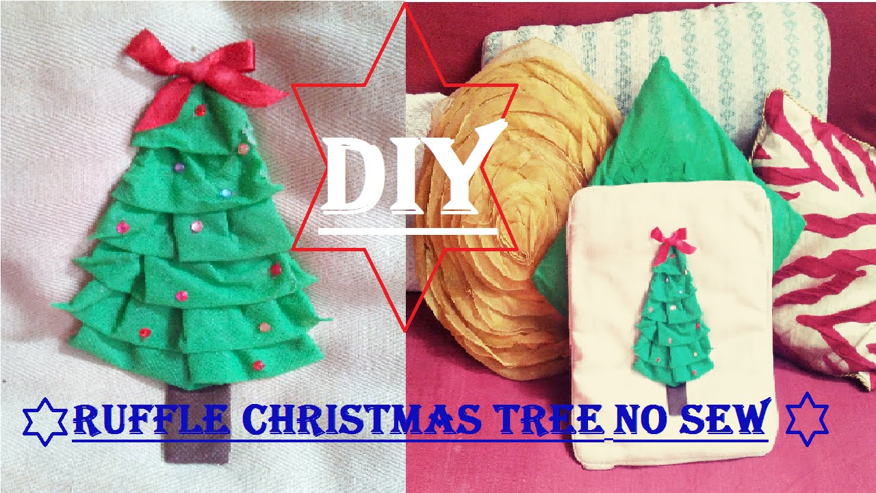 ❄ DIY Ruffle Christmas Tree Pillow (NO SEW) ❄ Holiday 3 - YouTube