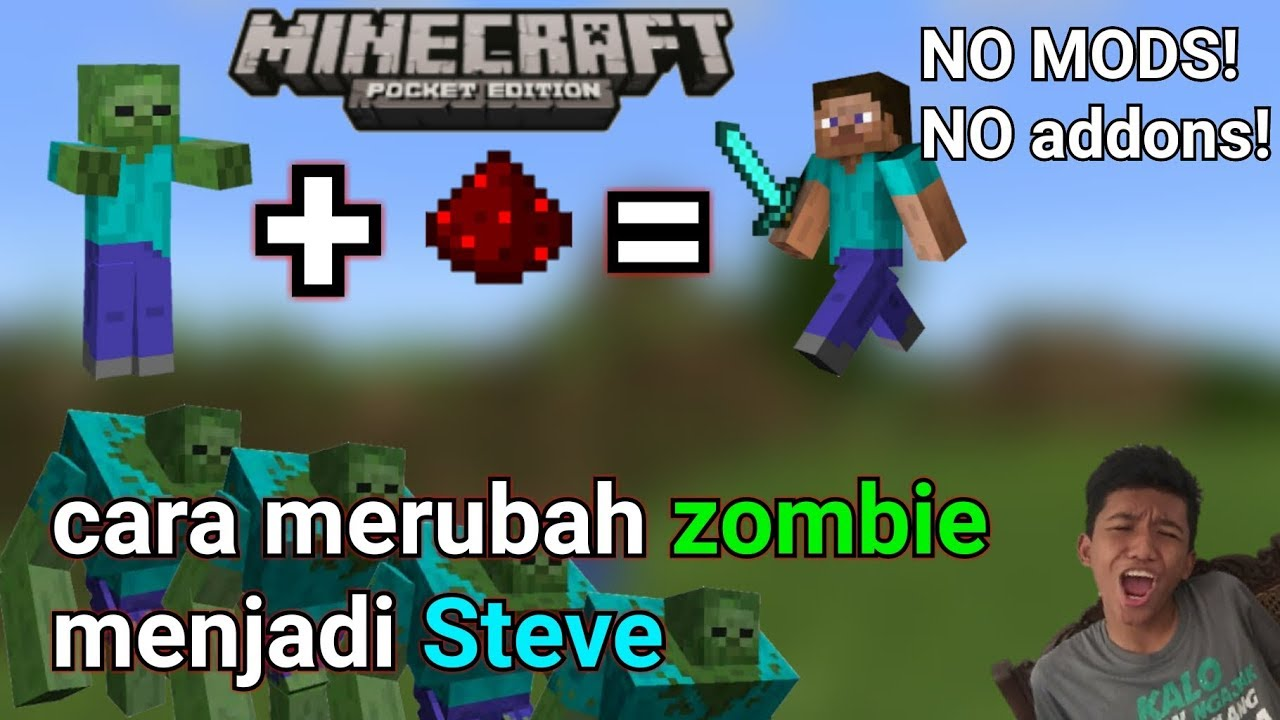 Cara Merubah Zombie Menjadi Steve Di Minecraftpe No Mods Youtube