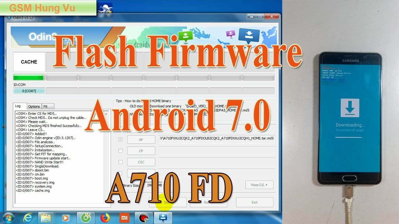 Flash Firmware Samsung A710FD Android 7 0 by Odin3 v3 12 7